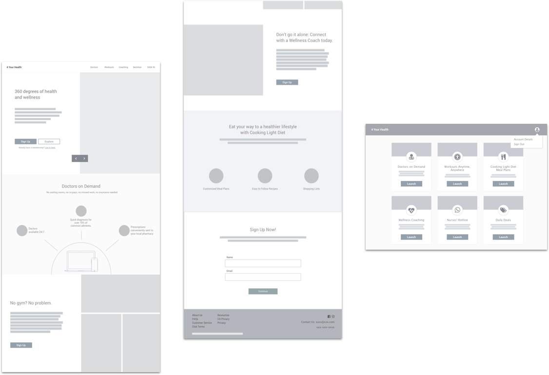 initial 4yh wireframes