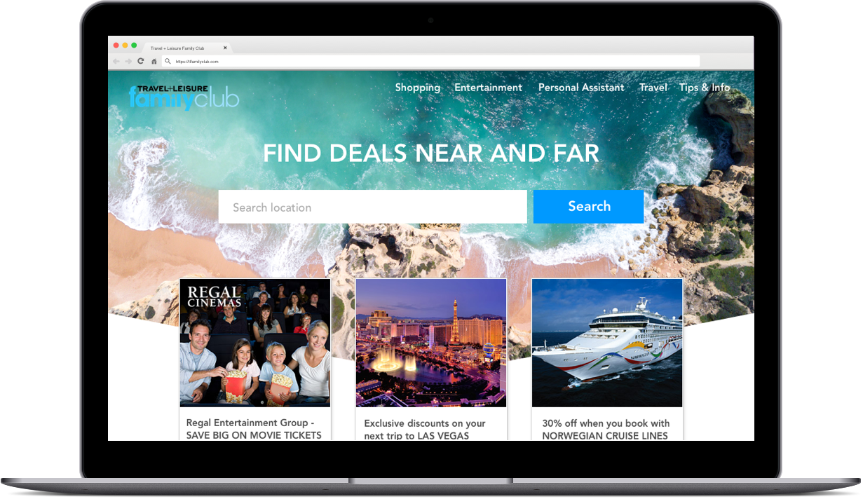 responsive screenshots of Travel Leisure Family Club